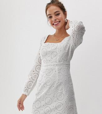 Glamorous Petite square neck mini dress in broderie-White