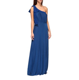 Elisabetta Franchi Long One-shoulder Dress In Lurex Fabric With Logo