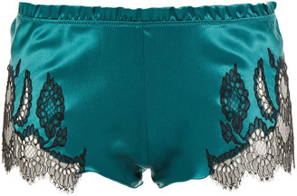 Carine Gilson Lace-trimmed Silk-blend Satin Low-rise Briefs