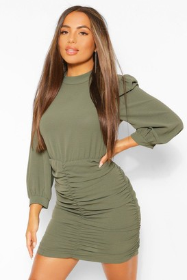 boohoo Petite High Neck Ruched Mini Dress