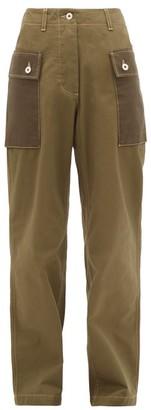 Loewe High-rise Two-tone Cotton-twill Trousers - Khaki