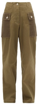 Loewe Two-tone Cotton-twill Trousers - Womens - Khaki
