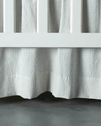 Bovi Fine Linens Baby Seersucker Crib Dust Skirt, White/Taupe