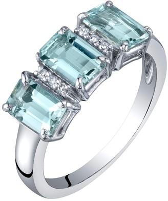 Oravo 14K White Gold Genuine Aquamarine and Diamond Three Stone Ring 1.50 Carats