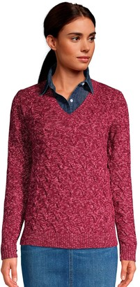 Lands' End Women's Drifter Cable Knit V-Neck Sweater