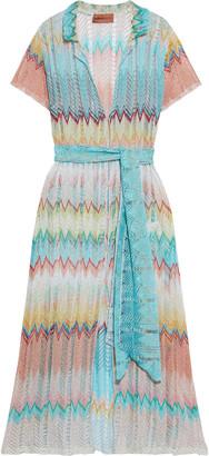 Missoni Mare Mare Belted Metallic Crochet-knit Midi Shirt Dress