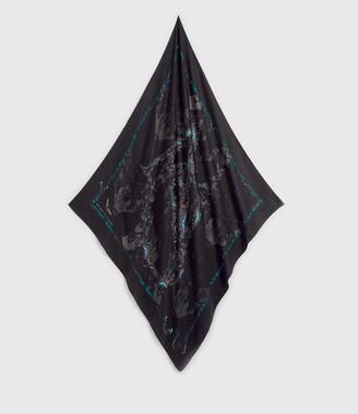 AllSaints Allofaflutter Large Square Silk Scarf