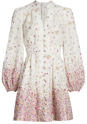 Zimmermann Carnaby Floral Linen Mini Dress