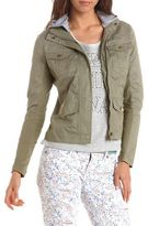 Charlotte Russe Hooded Knit Trim Canvas Jacket