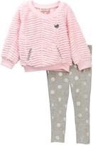 Juicy Couture Faux Fur Tunic & Glitter Dot Leggings Set (Toddler Girls)