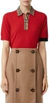 Burberry Penk Vintage Check Trim Merino Wool Polo Sweater