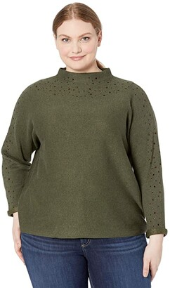 Nic+Zoe Plus Size Shine For Me Sweater (Rich Olive) Women's Clothing