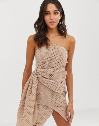 ASOS DESIGN mini dress in structured broderie with hitched hem dress