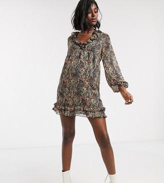 Topshop Maternity mini dress with ruffles in multi