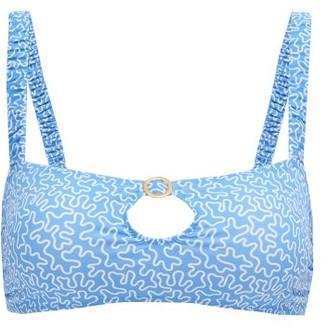 Fisch Carambole Cutout Abstract-print Bikini Top - Blue Print