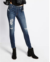 Express mid rise pull on distressed jean legging
