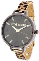 Steve Madden Cheetah Mesh Stainless Steel Watch