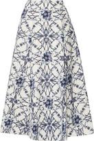 Marchesa Printed Cotton And Silk-Blend Midi Skirt