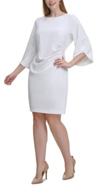 Jessica Howard Plus Size Beaded-Sleeve Sheath Dress