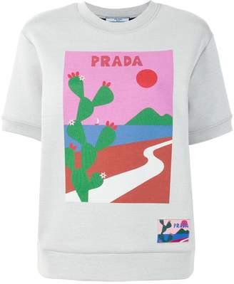 Prada cactus print short sleeve sweatshirt