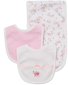 Little Me Girls' Rose Bibs & Burp Cloth Set - Baby