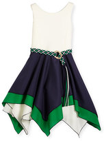 Zoë Ltd Sleeveless Belted Scuba & Poplin Handkerchief Dress, Navy/White, Size 7-16