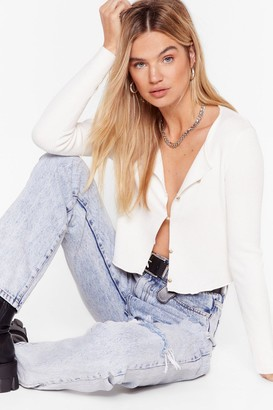 Nasty Gal Womens Truth Be Told Button-Down Knit Cardigan - White
