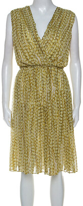 Max Mara Yellow Printed Silk Pleated Sleeveless Dress M