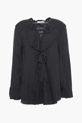 IRO Lace-up Ruffled Voile Blouse