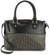 Calvin Klein Monogramed Faux Leather Satchel