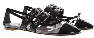 Miu Miu Black Pvc & Leather Pointy Buckled Slippers