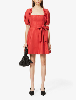 Self-Portrait Puff-sleeve woven mini dress