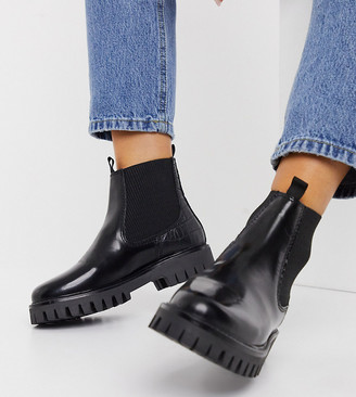ASRA Exclusive Bibi flat chelsea boots in black mock croc leather mix