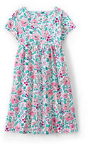 Classic Little Girls Square Neck Dress-Vibrant Magenta Painted Floral