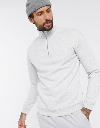 Jack and Jones Originals quarter zip sweat in light gray