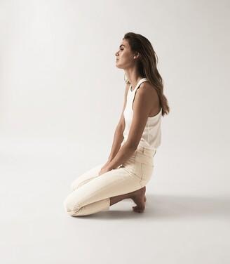 Reiss Lakely - Mid Rise Slim Crop Jeans in Ecru