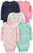 Simple Joys by Carter's Girls' 5-Pack Long-Sleeve Bodysuit