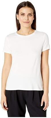 Eileen Fisher Petite Lightweight Viscose Jersey Round Neck Cap Sleeve Tee (Black) Women's T Shirt