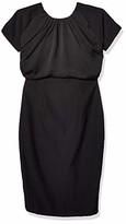 Maisalo Women's Kim Silk Block Short Sleeved Midi Pencil Cocktail