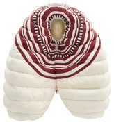 Moncler 1 Pierpaolo Piccioli - Striped Lacquered Down-filled Jacket - Womens - White Multi