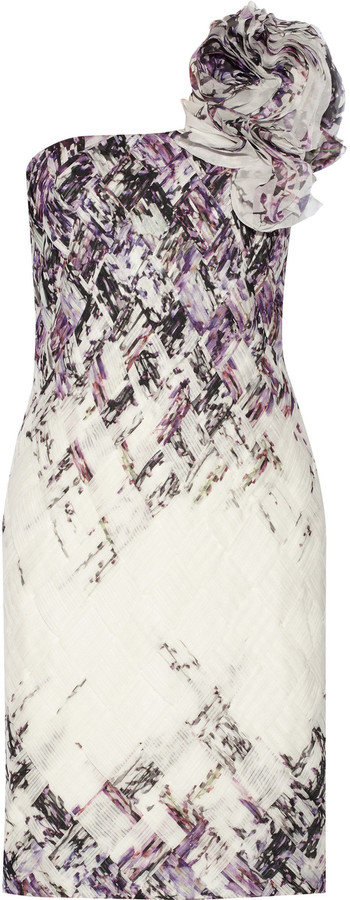 Mikael Aghal Ruffled printed chiffon dress