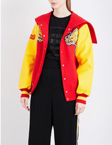 Opening Ceremony China wool-blend and leather varisty jacket