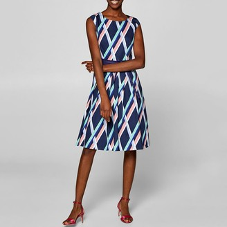 Esprit Graphic Print Stretch Cotton Pleated Dress with Belt