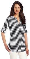 Calvin Klein Women's Stripe Crew Neck Roll Sleeve