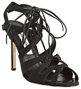 Manolo Blahnik black fabric 'Netochka' lace-up sandals