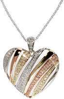 Effy Trio by Diamond Diagonal Heart Pendant (3/8 ct. t.w.) in Tri-Tone 14k Gold