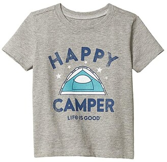 Life is Good Happy Camper Crusher Tee (Toddler) (Heather Gray) Kid's Clothing