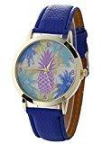 Mandystore Women Mens Watches Neutral Pineapple Pattern Leather Quartz Wrist Watch (Blue)