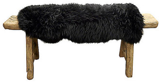 One Kings Lane Vintage Antique Shandong Bench with Lambswool