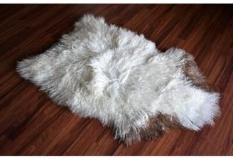 "Chalker Animal Print Handmade 2'1"" x 3'2"" Sheepskin White/Brown Indoor / Outdoor Area Rug Millwood Pines"